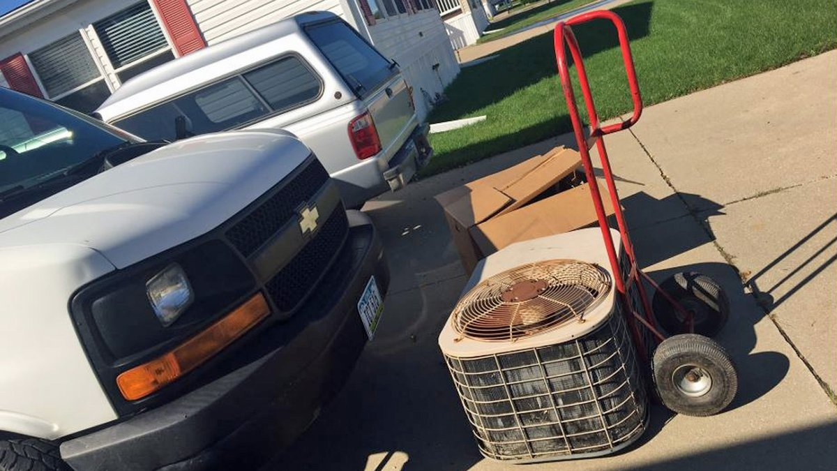 An air conditioning unit that was being replaced at the Engelbart household in Marion, Iowa on...
