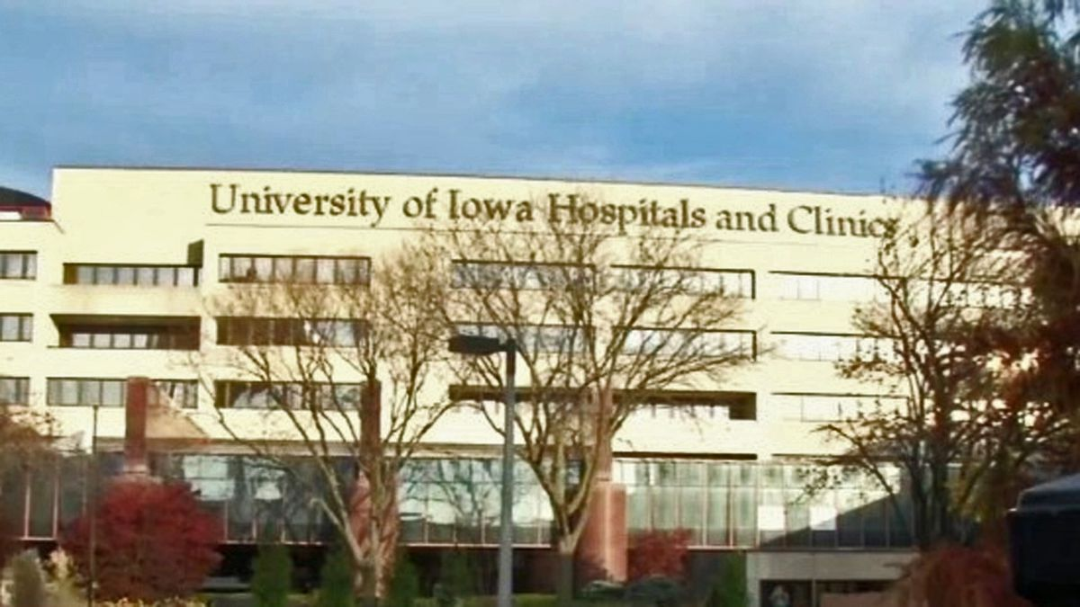 The exterior of the University of Iowa Hospitals and Clinics in Iowa City in an undated file photo. (KCRG File)