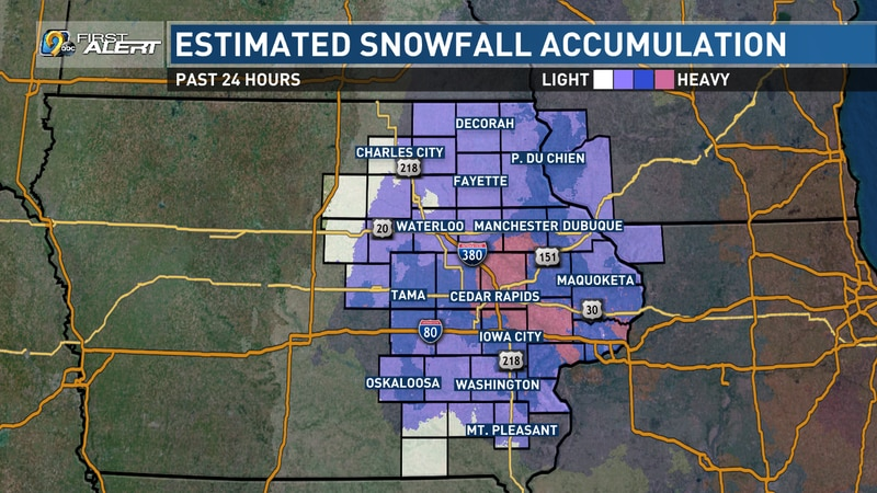A map showing the estimated location of the heaviest snowfall between Saturday, Jan. 30,...
