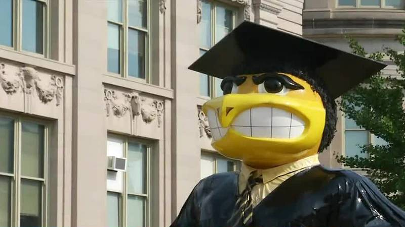 A statue of Herky the Hawk on the University of Iowa campus.