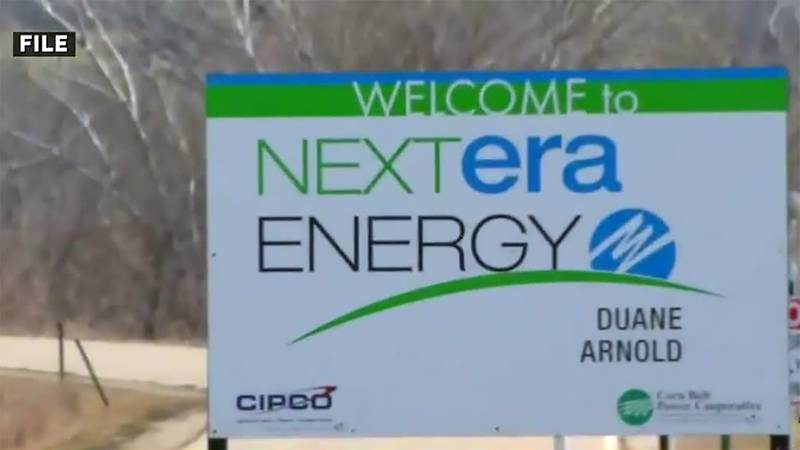 A sign outside of the Duane Arnold Energy Center near Palo.
