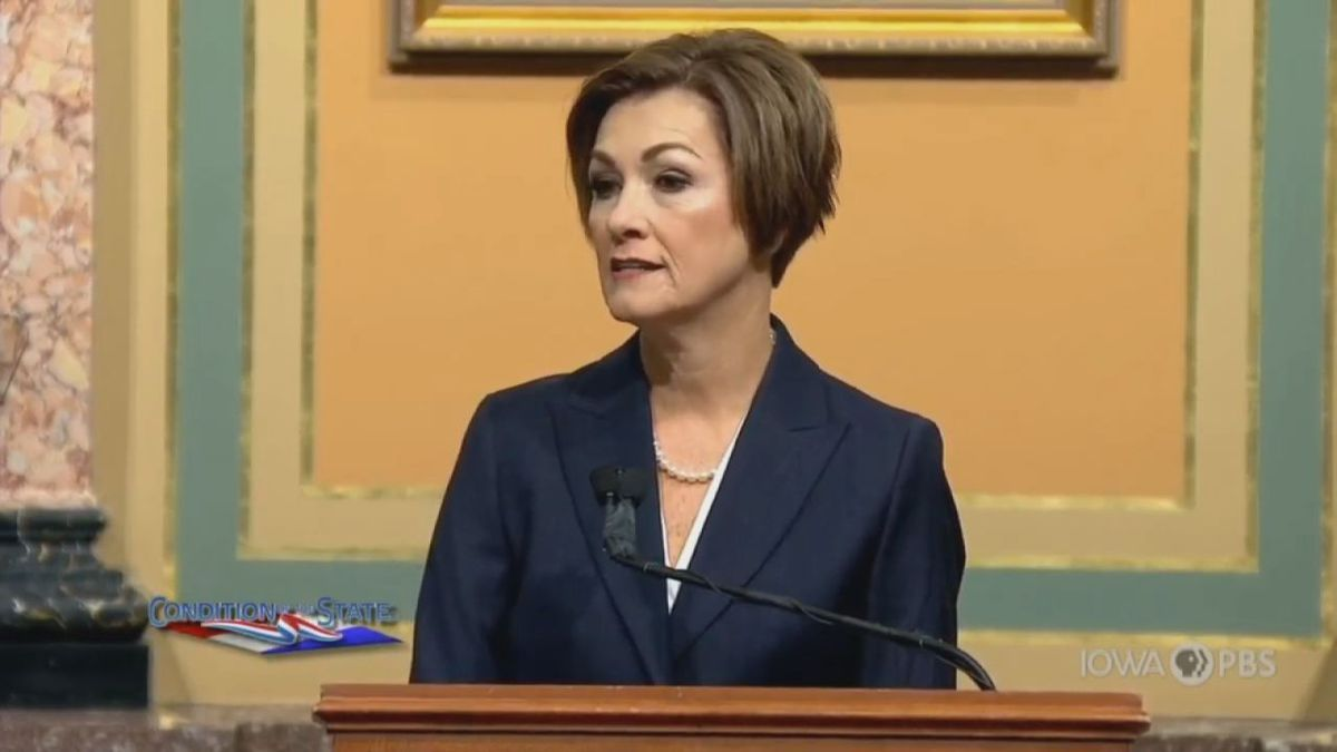 Gov. Reynolds gives her 2020 Condition of the State in Des Moines on Jan. 14, 2020.