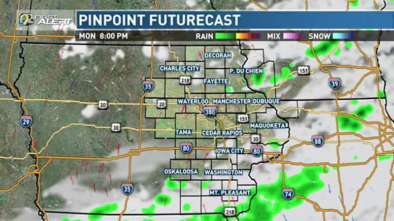 An isolated shower possible on Monday.