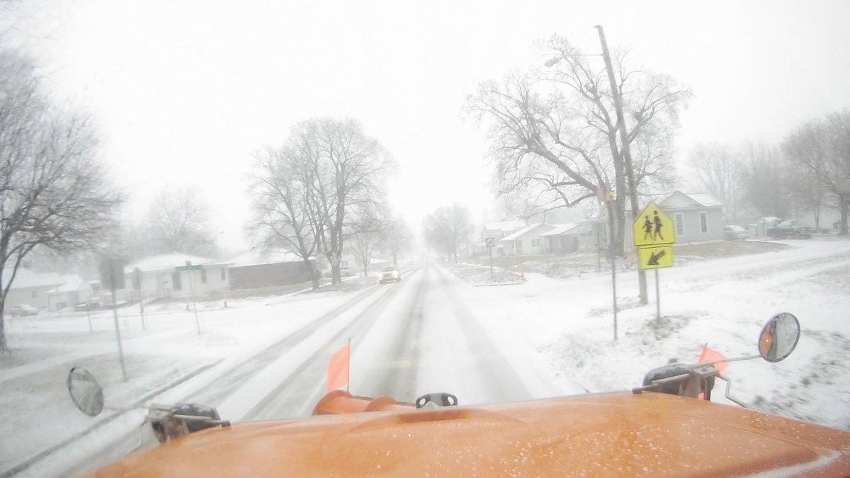Snowy road on Iowa DOT Plow Cam