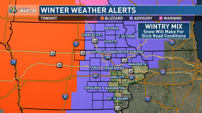 A wintry mix of snow will make for slick roads on Friday