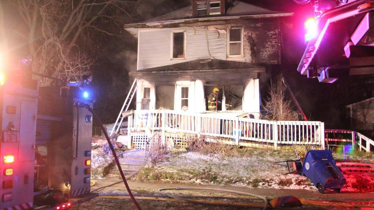 Firefighters on scene of a house fire in Waterloo. It happened at 408 Courtland Street around...