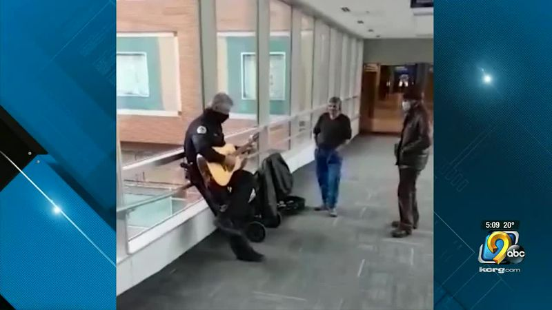 An Iowa police officer's musical performance is going viral.
