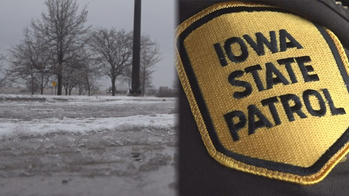 The Iowa State Patrol reported more than 400 calls for service statewide over the weekend of Jan. 10-12, 2020, a weekend that featured a dangerous combination of ice and snow. (Aaron Scheinblum/KCRG)