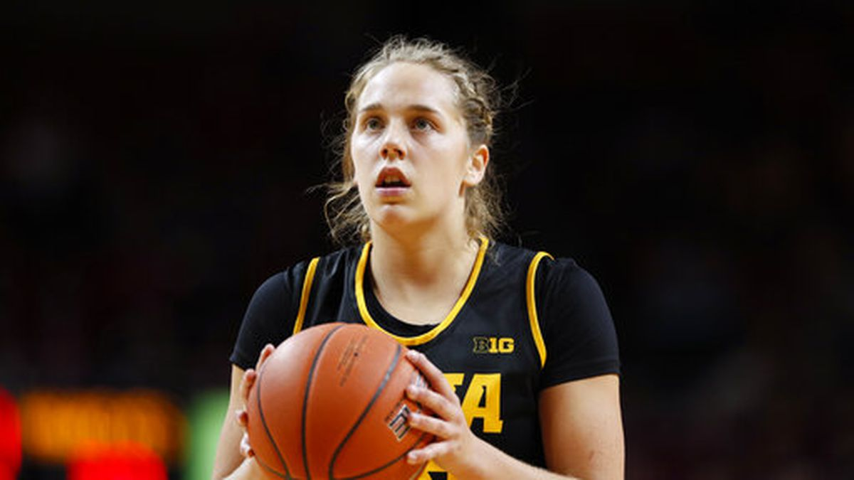 Iowa guard Kathleen Doyle shoots a free throw during the second half of an NCAA college basketball game against Iowa State, Wednesday, Dec. 11, 2019, in Ames, Iowa. (AP Photo/Charlie Neibergall)