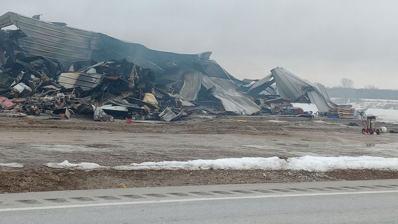 Marengo fire burns the Pride of Iowa Sandwiches facility to the ground on Saturday, February...