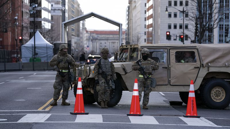 Members of the National Guard at a check point in downtown, ahead of President-elect Joe...