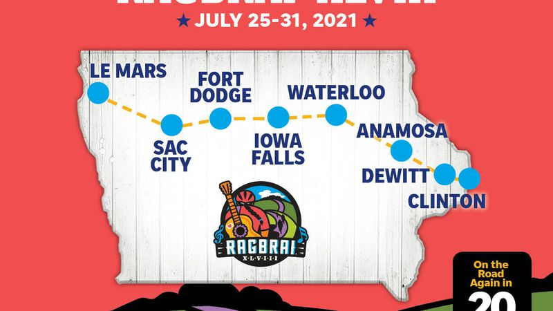 The 2021 RAGBRAI route was announced on Saturday, January 30, 2021.