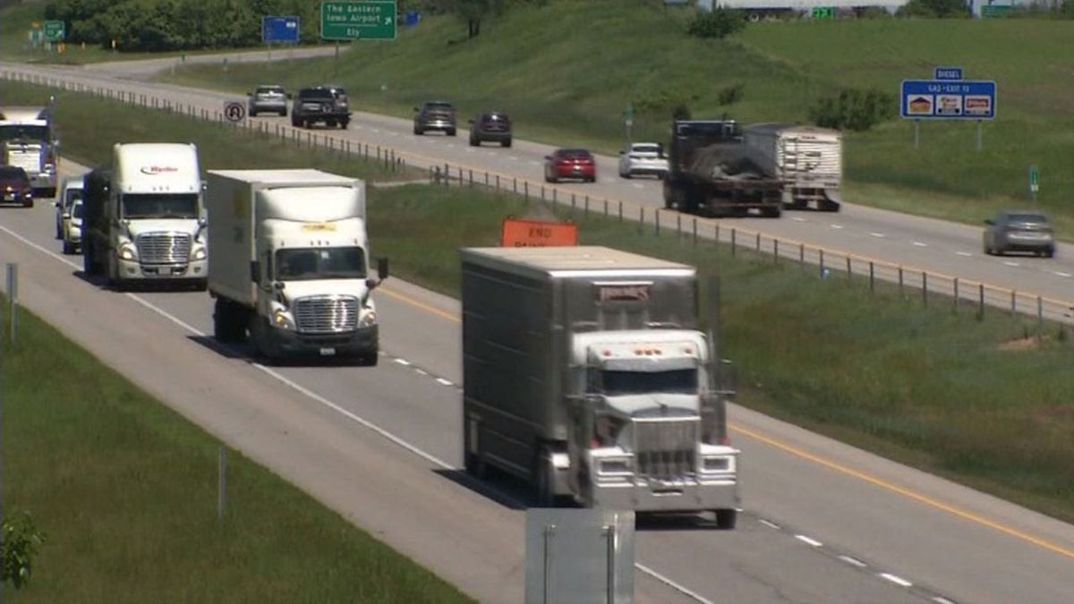 Trucks drive along Interstate 380 near Cedar Rapids on June 5, 2019 (Brian Tabick/KCRG)