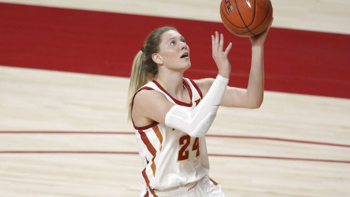 Iowa State's Ashley Joens goes up for a layup during an NCAA basketball game on Friday, Dec....