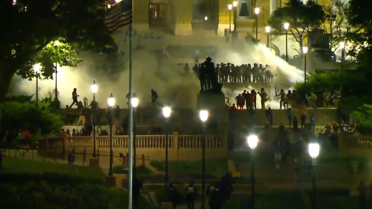 Law enforcement use tear gas on protesters at the Iowa Statehouse on Monday, June 1, 2020.