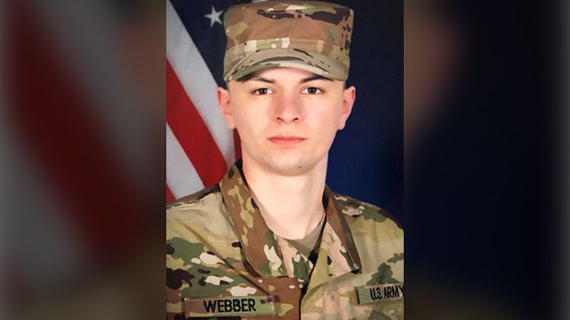 Private First Class Mason Webber, 22, was killed performing maintenance on a Bradley fighting...