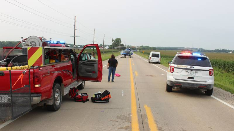 One person was airlifted to the hospital after a vehicle and a bicycle collided in Buchanan...