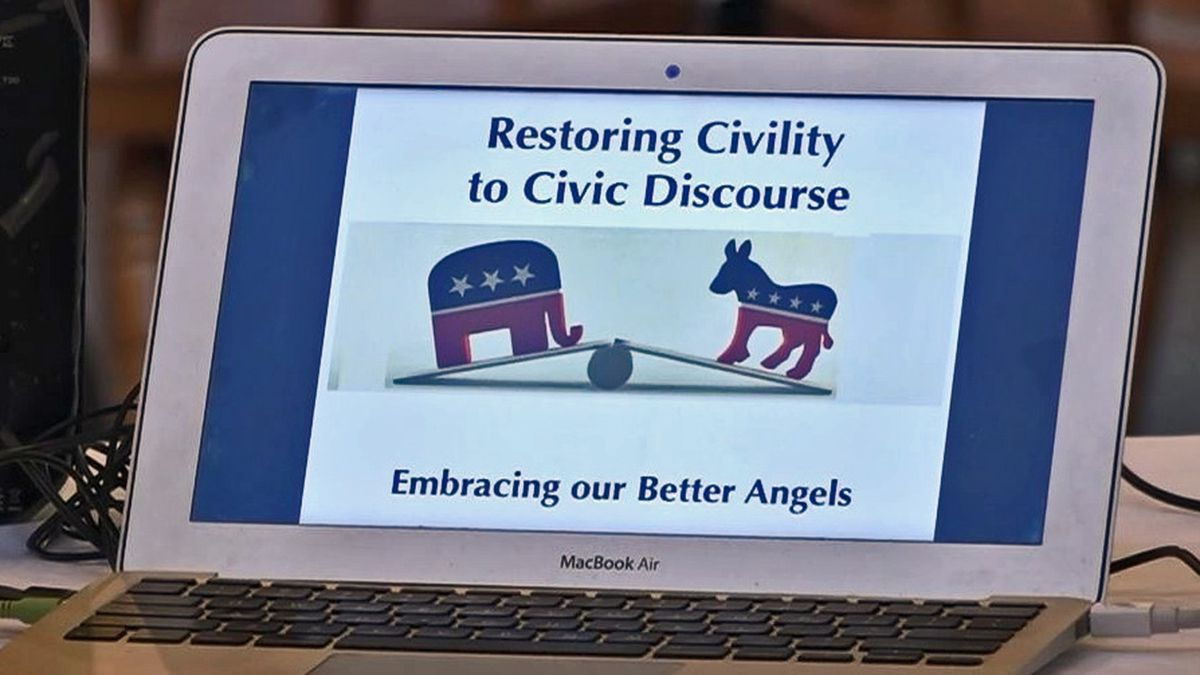 The group Better Angels met with the Marion-East Cedar Rapids Rotary about how to depolarize political conversations on Tuesday, October 8, 2019. (Aaron Hosman//KCRG)
