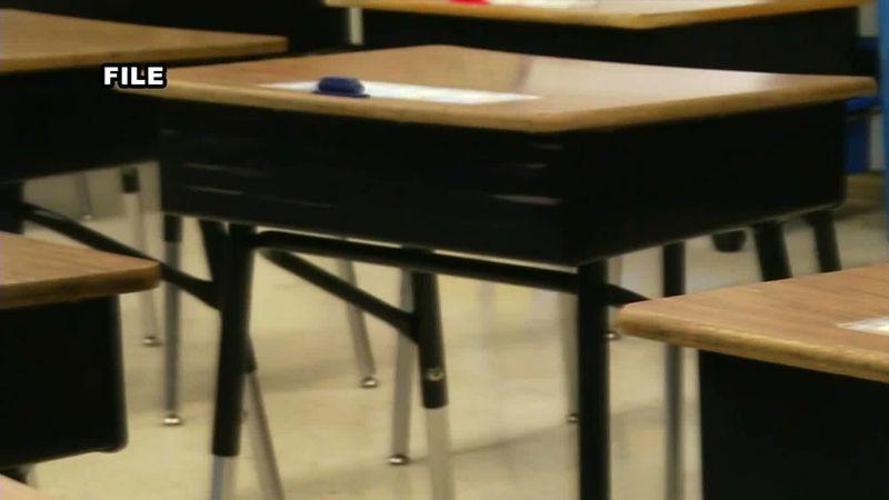 Empty school desks.