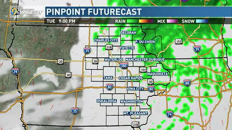 Scattered showers move through the area throughout the afternoon and evening.