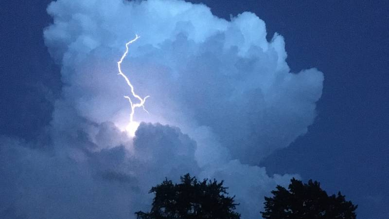 A massive lightning cloud that moved across Greater Cincinnati Thursday night.