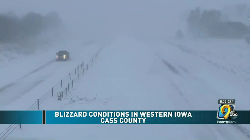 Blizzard conditions hit western Iowa