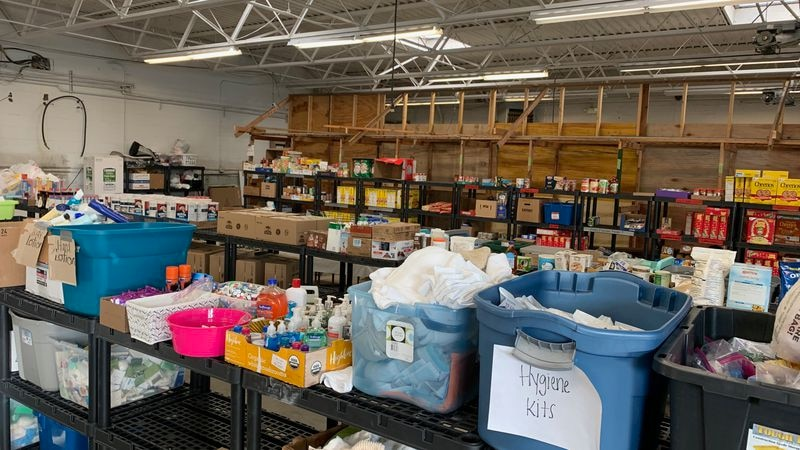 Donations at the Iowa Derecho Storm Resource Center in Cedar Rapids, pictured  Oct. 18, 2020.