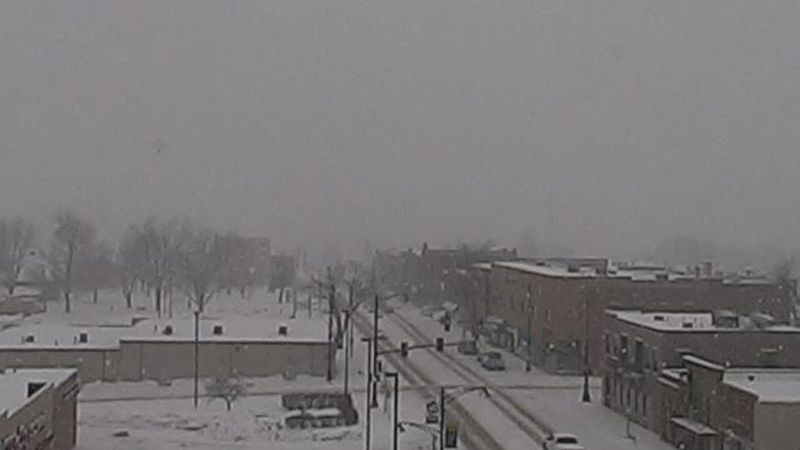 Snowy look on the Marion CityCam on February 21, 2021.