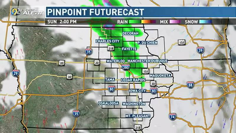 On Sunday, a few spotty showers will be possible, mainly along and north of Highway 20.