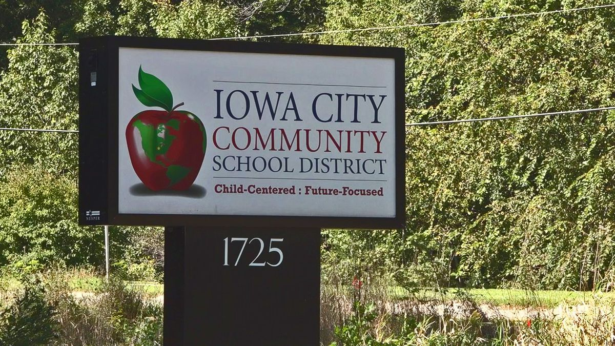 A sign outside of the central administration office for the Iowa City Community School District (Aaron Scheinblum/KCRG)
