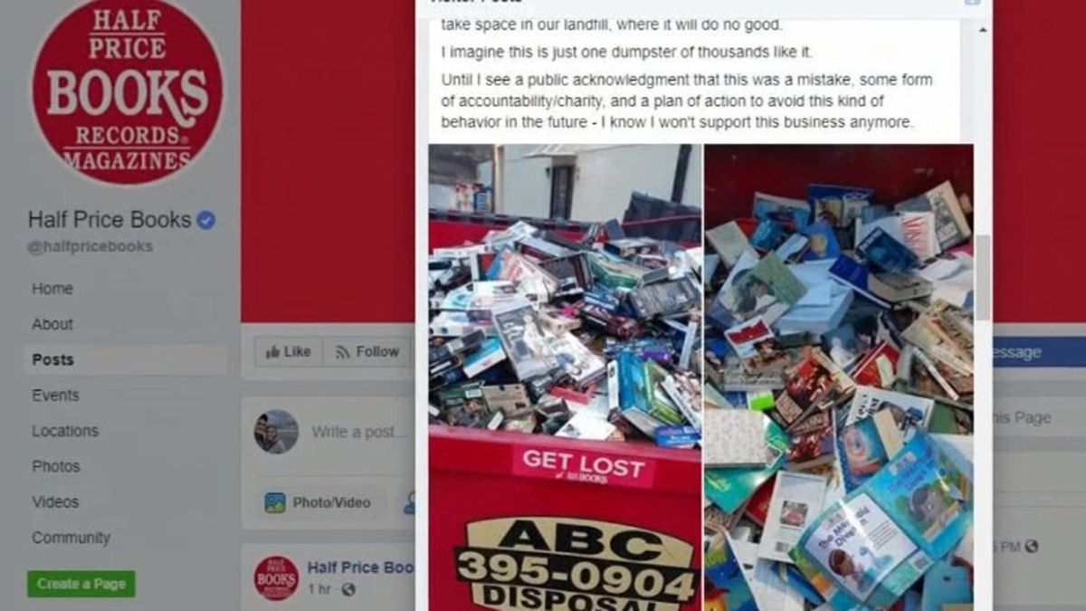 A post on the Facebook page for Half Price Books showing various media in a dumpster. The manager of the location in Marion said that they do all they can to sell or donate their materials, but some things must end up in a dumpster (Courtesy Image)