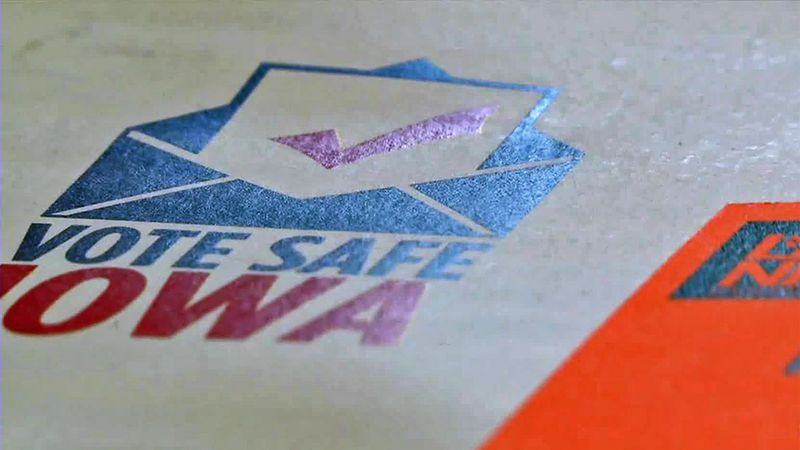 A logo encouraging Iowan's to vote safely during the ongoing novel coronavirus pandemic.