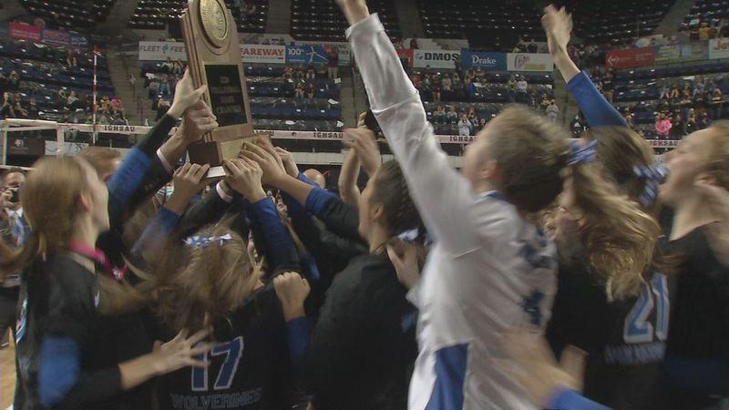 Dike-New Hartford celebrates its 14th state championship after beating Denver, 3-0.