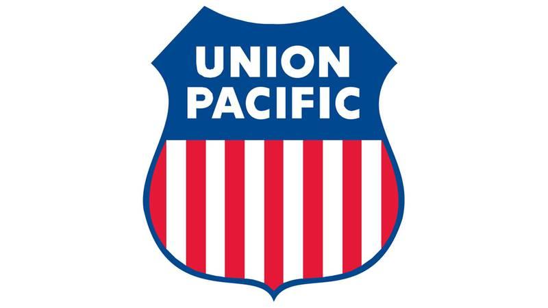 The logo for the Union Pacific railroad company.