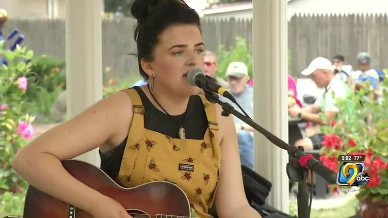 As RAGBRAI riders cruised through New Hartford, they were serenaded by Maddie Poppe.