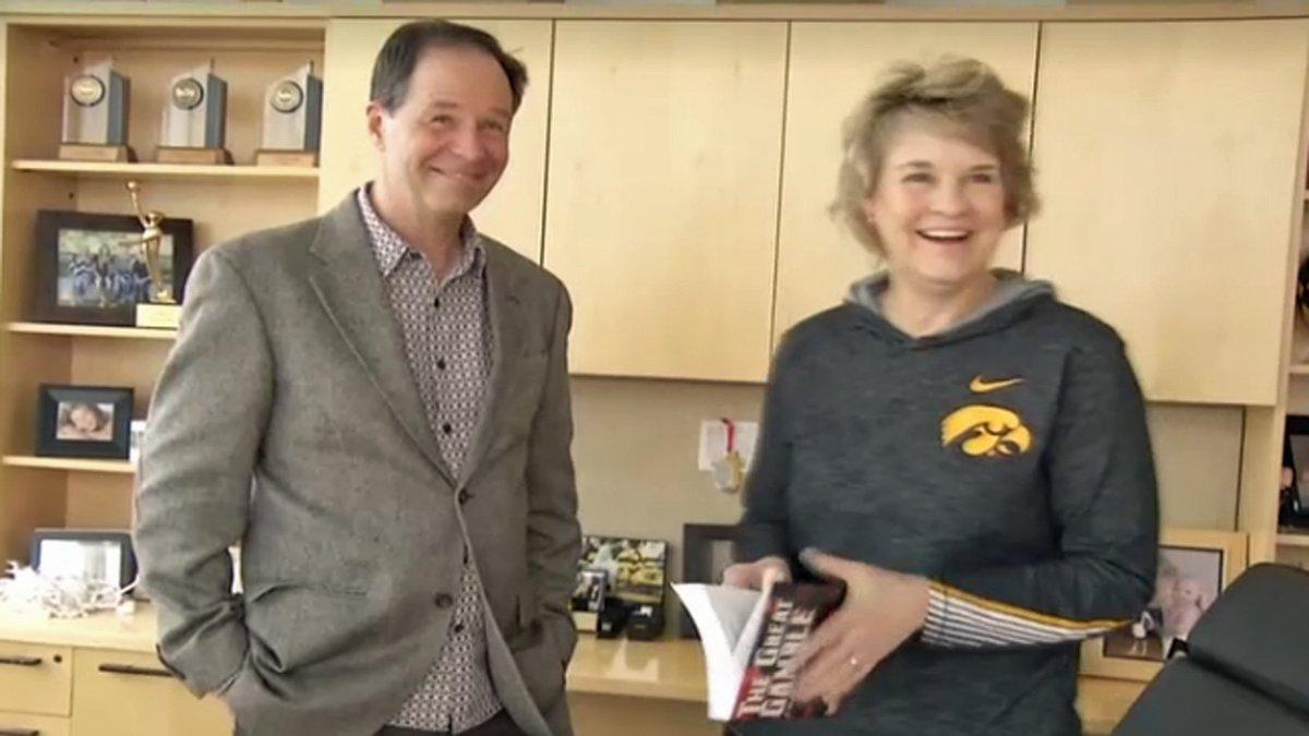University of Iowa women's basketball head coach Lisa Bluder, right, and her husband David,...