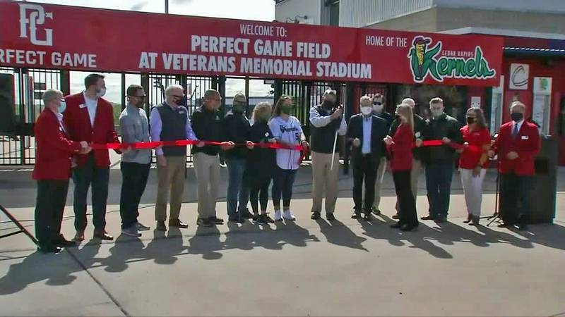 A ribbon-cutting ceremony is held at Veterans Memorial Stadium on opening day for the Cedar...