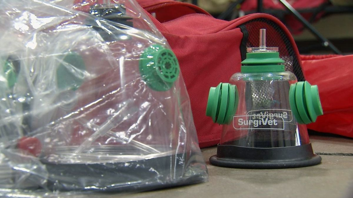 The Dubuque Fire Department received a donation of six oxygen mask kits from Invisible Fence Company for use on pets. Photo: Wednesday,  Nov. 20, 2019 (Charlie Grant/KCRG)