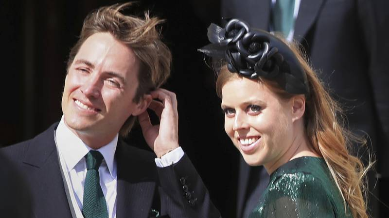 FILE - In this Aug. 31, 2019 file photo, Princess Beatrice and her husband Edoardo Mapelli...