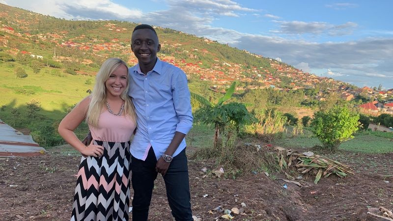 Mariah Schrack of Dubuque with her fiacncée Alex, in his home country of Rwanda in 2019.