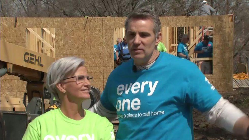 Kurt and Brenda Warner helped build a Habitat for Humanity home in Cedar Rapids on Monday,...