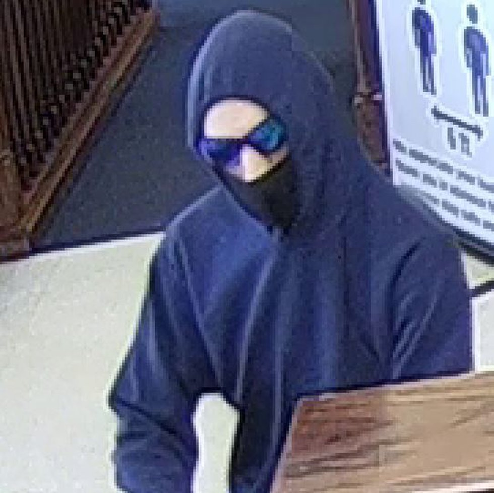 A suspect in a bank robbery at the Central State Bank in Walford on Wednesday, Sept. 15, 2021.
