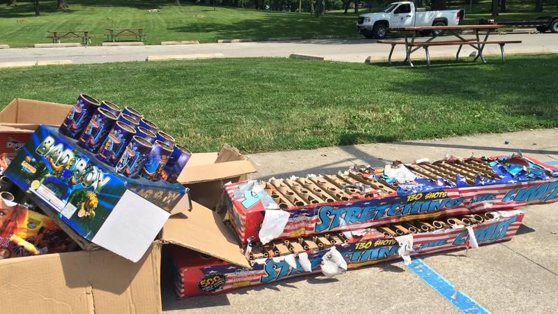 Fireworks debris left behind at Daniels Park in Cedar Rapids.  Setting off fireworks in parks...