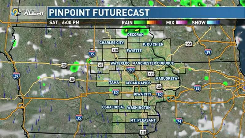 Isolated storm possible north by evening.