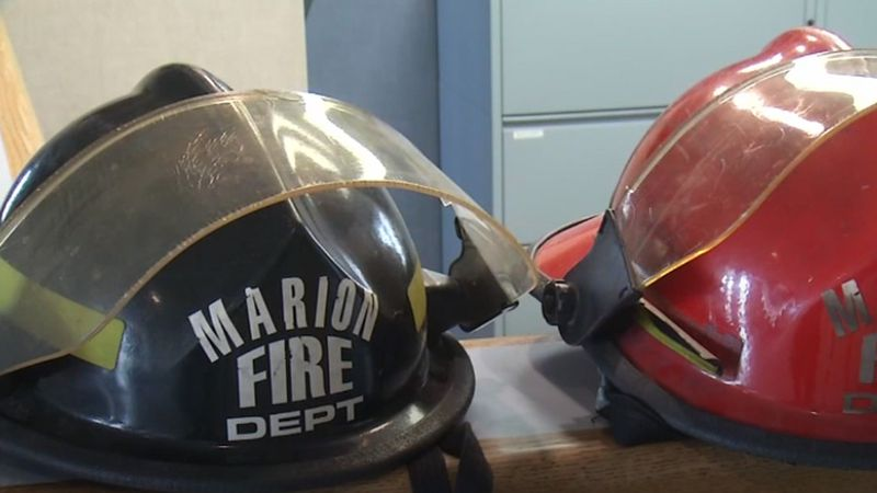 Helmets from the Marion Fire Department (KCRG)