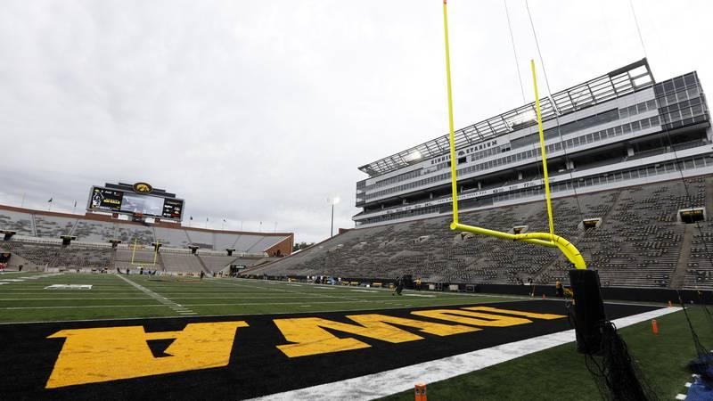 Kinnick Stadium is seen before an NCAA college football game between Iowa and Miami of Ohio,...