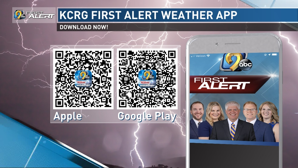 Download the KCRG-TV9 First Alert Weather App for free today by scanning these QR codes.