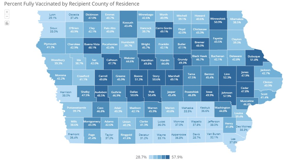 Percent Fully Vaccinated by Recipient County of Residence