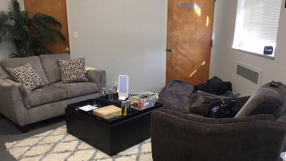 Loras College's sensory room is a comfortable space for students to unwind, relax or blow off...