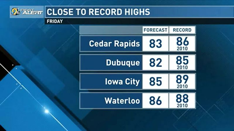 A warm day expected on Friday.